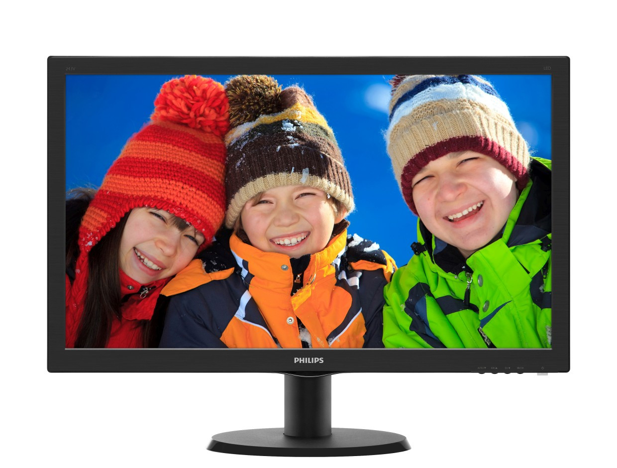 LCD 23.6IN PHILIPS 243V5LHSB/27 LED 1MS VGA/DVI-D/HDMI BLACK 16:9