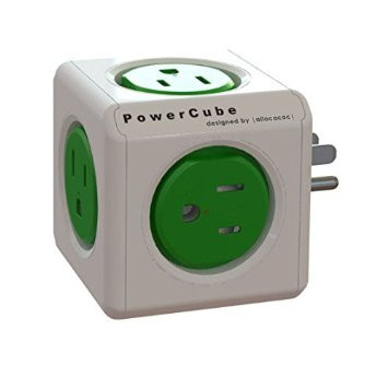 SURGE POWERCUBE ORIGINAL WALL PLUG 5OUTLET WHITE/GREEN