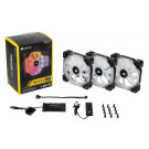 CASE FAN 120MM CORSAIR HD120 RGB LED PWM 54.4CFM 30DB TRIPLE PACK W/CTRL